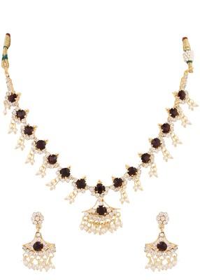 Wine Purple Stone Diamond Sparkling Necklace Earrings Ring Set