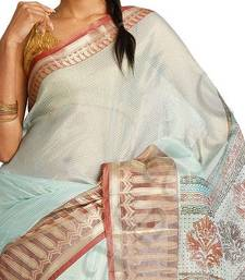 Buy Tissue Zari fancy printed pallu saree silk-saree online