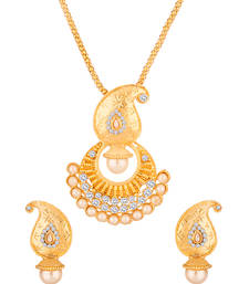Buy Gold Toned Pendant Set Embellished With  & Pearls Pendant online