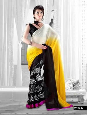 Bollystyle Designer Silk Faux Georgette Saree Sari 216A