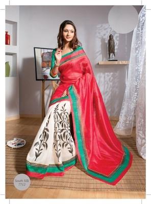 Bollywood style Designer Bhagalpuri South Silk Saree Sari 7712