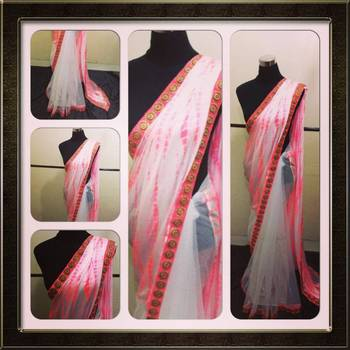 Neon white saree