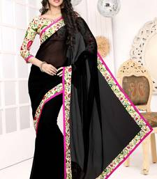 Buy Black and Pink plain georgette saree with blouse other-actress-saree online