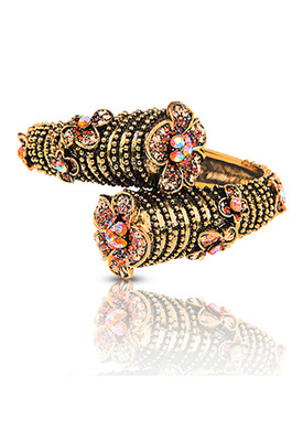 Just Women Traditional Kada with Orange and Golden color Semi precious crystals