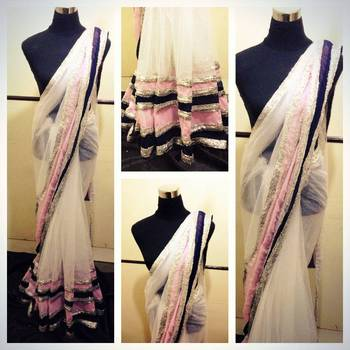 White Pink and Blue saree