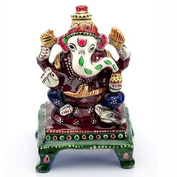 Handpainted Enamelled Metal Ganapati_08
