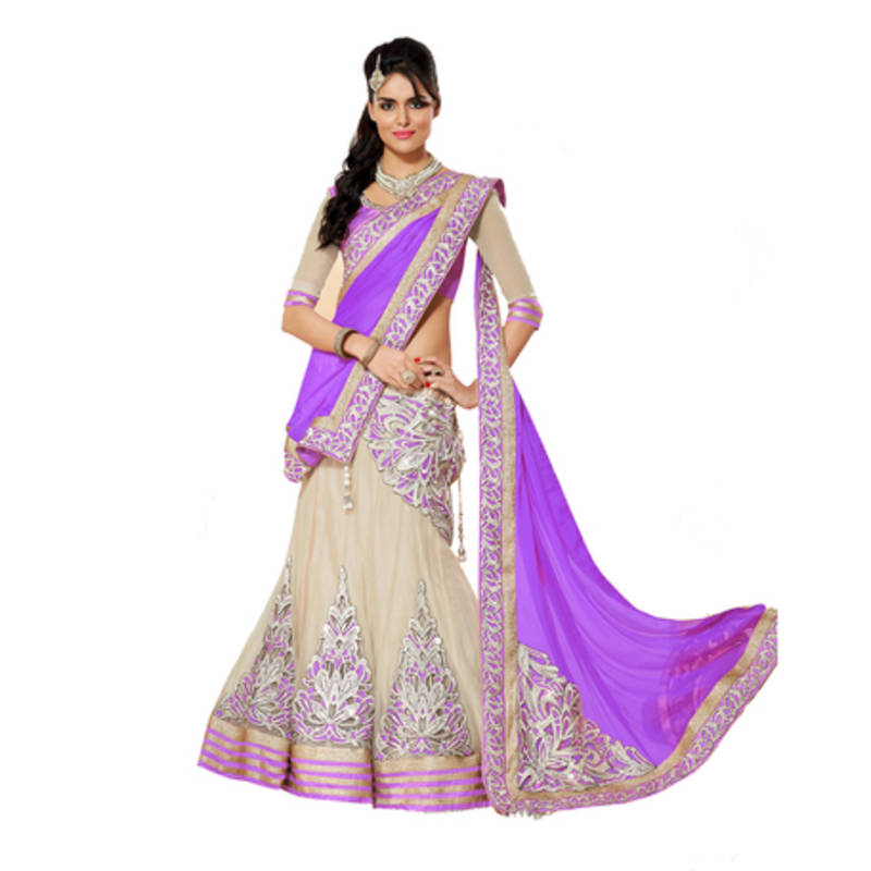 Buy Purple And Off White Embroidery Net Unstitched Lehenga Choli Online