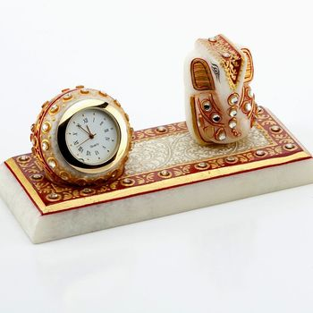 Diwali Gifts - Marvel In Marble Gold Embossed Lord Ganesh With Watch_49
