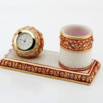 Marvel In Marble - Gold Embossed Pen Stand With Watch_50
