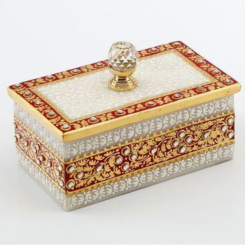 Marvel In Marble - Gold Embossed Jewellery Box With Crystal Knob_55