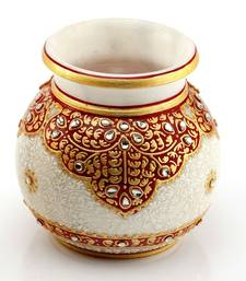 Buy Marvel In Marble - Gold Embossed Round Vase With Kundan Work_66 other-home-accessory online