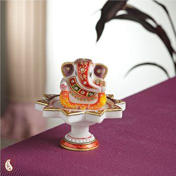 Diwali Decoration Ideas Marble Ganesh Mounted On Lotus Pillar