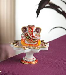 Buy Diwali decoration ideas Marble Ganesh mounted on Lotus pillar anniversary-gift online
