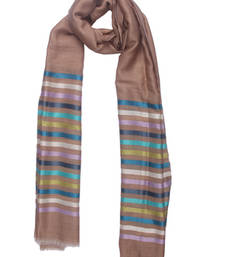 Buy Hand-made Toasted Almond Coloured Pashmina Blend Shawl shawl online