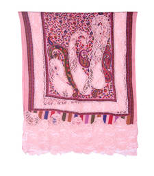 Buy Hand-made Old Rose Coloured Pashmina Blend Shawl shawl online
