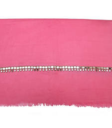 Buy Hand-made Candy Pink Coloured Pashmina Blend Shawl shawl online
