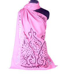 Buy Hand-made Blush Pink Coloured Pashmina Blend Shawl shawl online