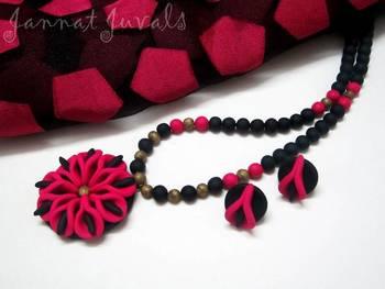 Black and Magenta Flower set