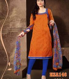 Buy KING SALES NEW STYLISH FANCY ORANGE AND BLUE EMBROIDERED HEAVY CHANDERI SUIT salwars-and-churidar online