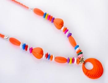 Orange Stone and Beads Fashion Set