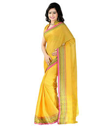 Buy Yellow hand_woven cotton saree with blouse cotton-saree online