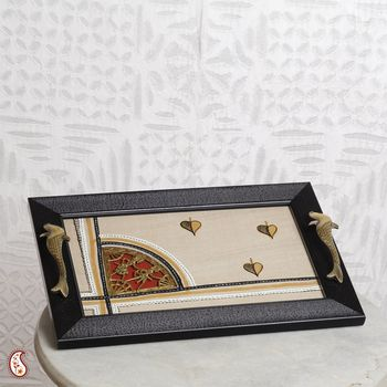 Wooden hand crafted Tray with Silk and Dhokra work
