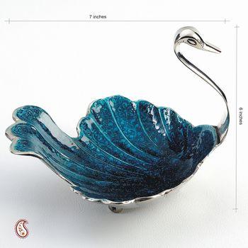 Violet Blue enamel Swan in Silver plated Brass Tray