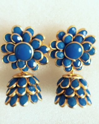 Deep Blue Pachhi Jhumka Traditional Pachi Jewelry k1b