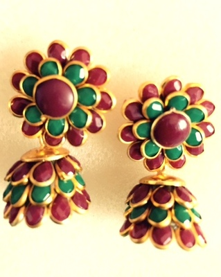 Maroon green pachhi jhumka traditional pachi jewelry k1mg