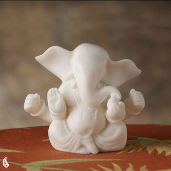 Semi Abstract White Marble Vakratunda Ganesh