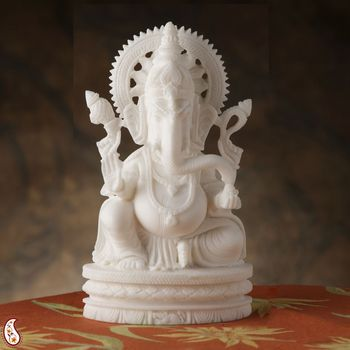Vakratunda Ganesh Statute in Pure White Marble