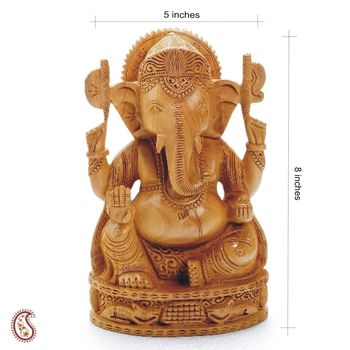 Pure White wood Hand Carved Ganesh Murthi