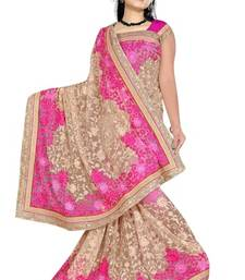 Buy Pink  and  Cream embroidered net saree with blouse net-saree online
