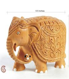Buy White wood Hand Carved Royal Elephant Statue other-home-accessory online