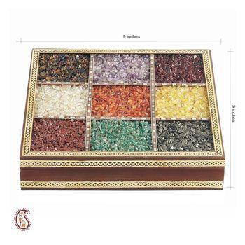 Raw Semi Precious Stone Inlayed Square Jewellery Box