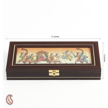 Wedding Procession Stones Inlay Work wooden Gem Box