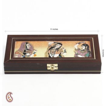 Precious Stones Inlay Work rectangle Jewellery Box