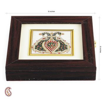 Twin Peacock Design Stone Inlay Work Square Gem Box