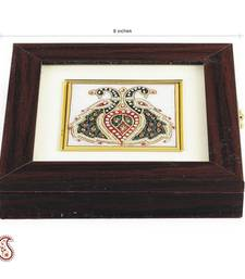 Buy Twin Peacock Design stone Inlay work Square Gem Box jewellery-box online