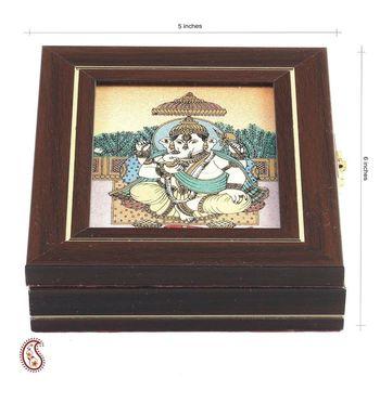 Siddhi Vinayak Precious Stone Inlay Work Gem Box