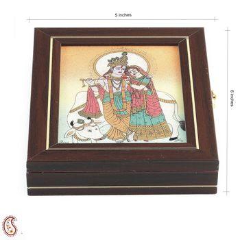 Precious stone Inlay work Gem Box with Radha Krishna