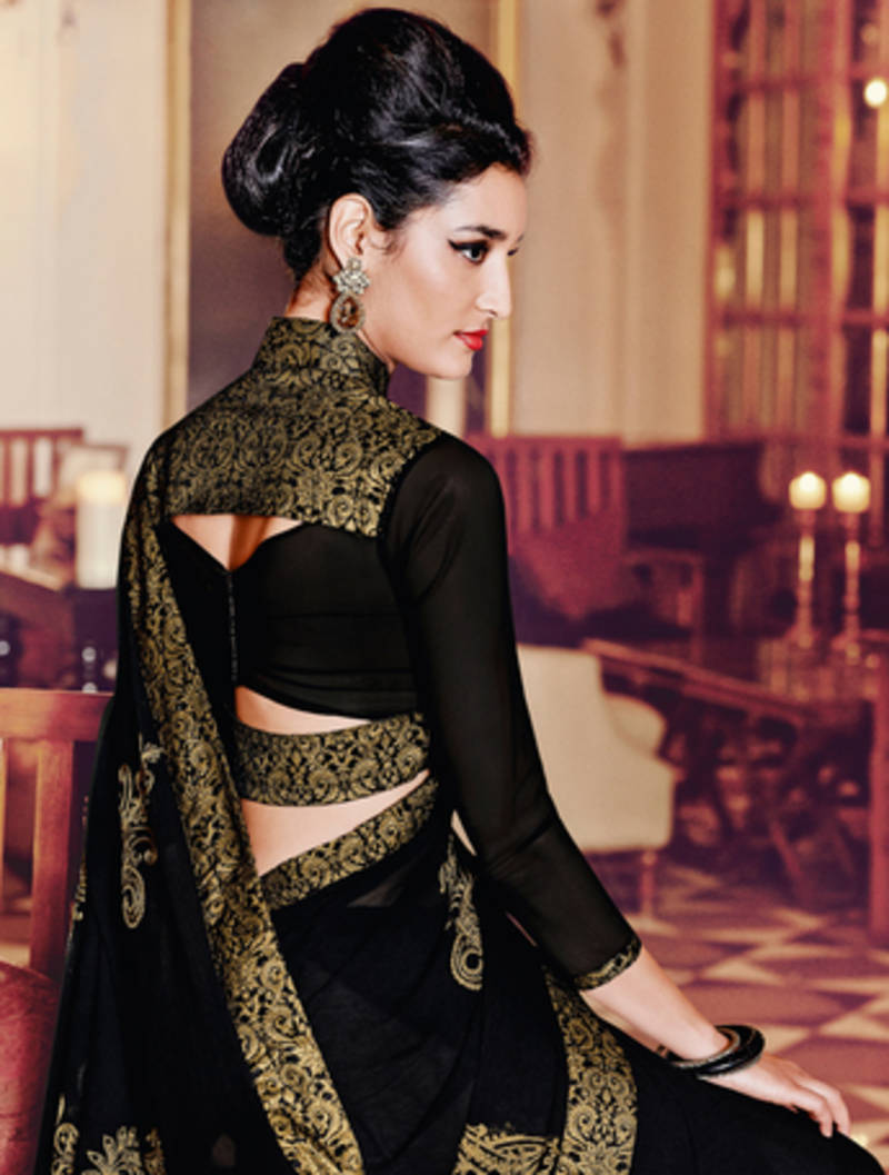 Buy Black Embroidered Georgette Saree With Blouse Online