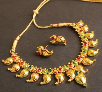 BEAUTIFUL MAROON-GREEN MANGO NECKLACE SET