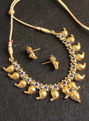BEAUTIFUL ROYAL BLUE MANGO NECKLACE SET