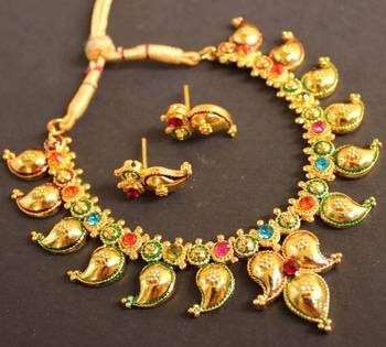0a29ce7af2e BEAUTIFUL GOLD PLATED MULTI COLOR MANGO NECKLACE - DREAMJWELL - 68104