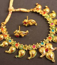 Buy BEAUTIFUL GOLD PLATED MULTI COLOR MANGO NECKLACE south-indian-jewellery online