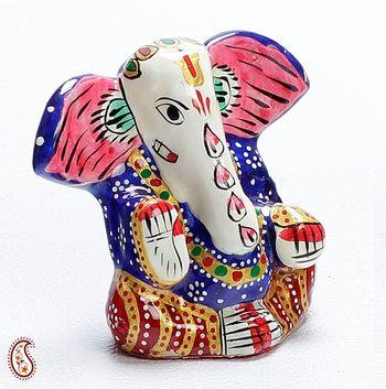 Yoga Ganapati Hand Painted Enamelled Metal Figurine