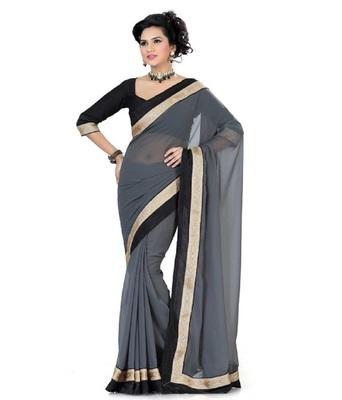 e626f759b1239e Grey plain chiffon saree with blouse - Shree Bhole Sarees - 654742