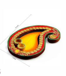 Buy Yellow and Red Keri design wood clay Pooja Thali other-home-accessory online