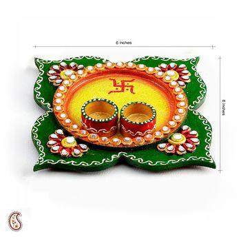 Clover Leaf design wood and clay work Pooja Thali - Diwali decoration ideas